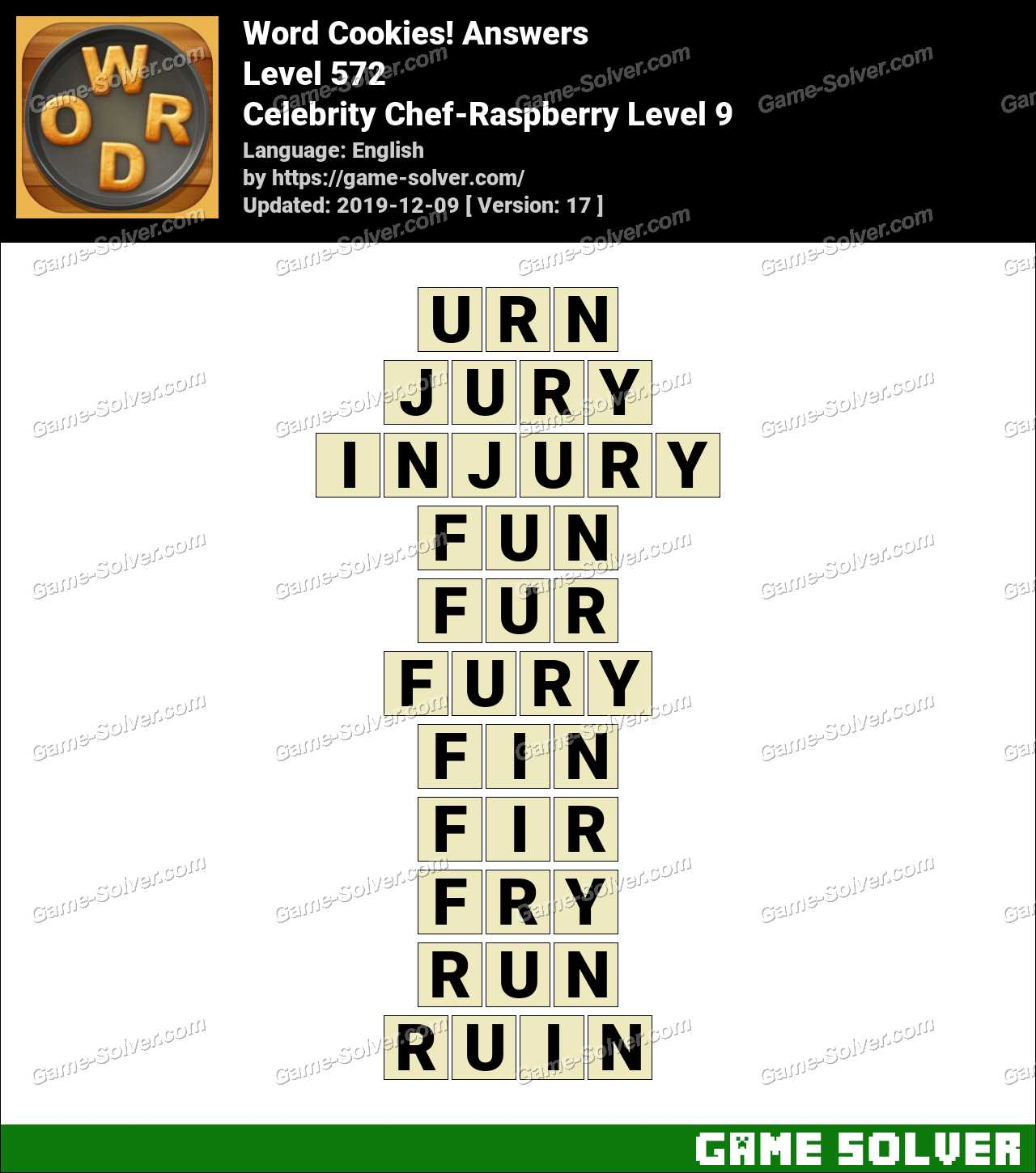 Word Cookies Celebrity Chef-Raspberry Level 9 Answers