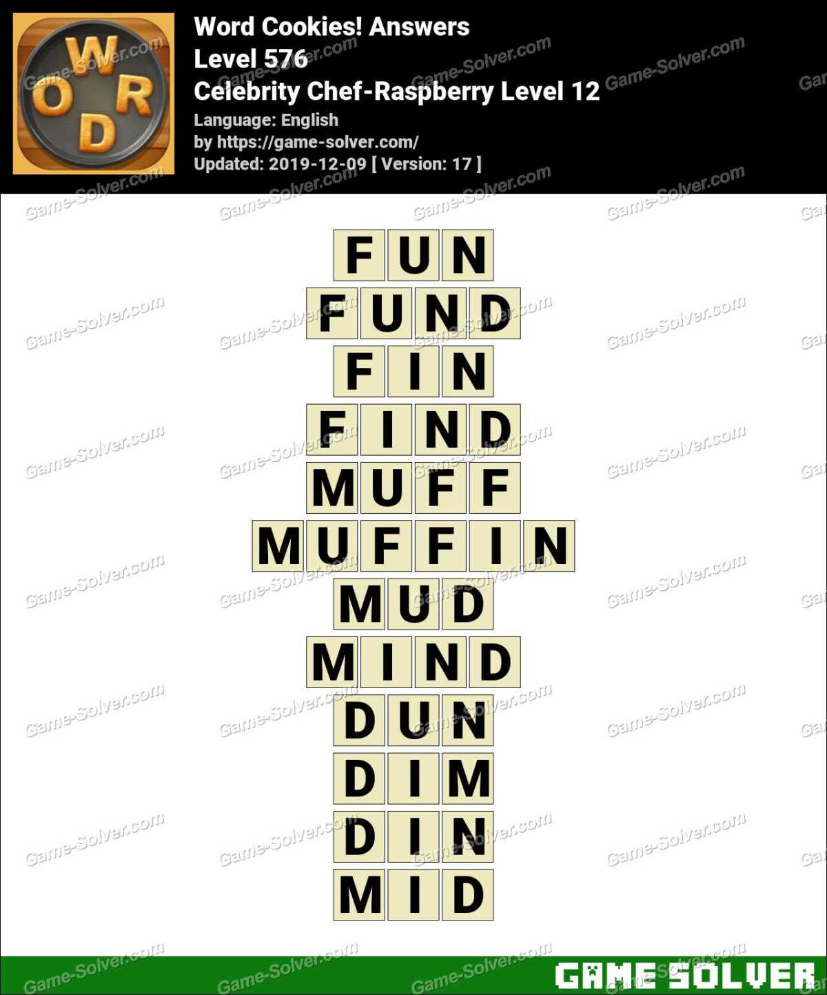 Word Cookies Celebrity Chef-Raspberry Level 12 Answers