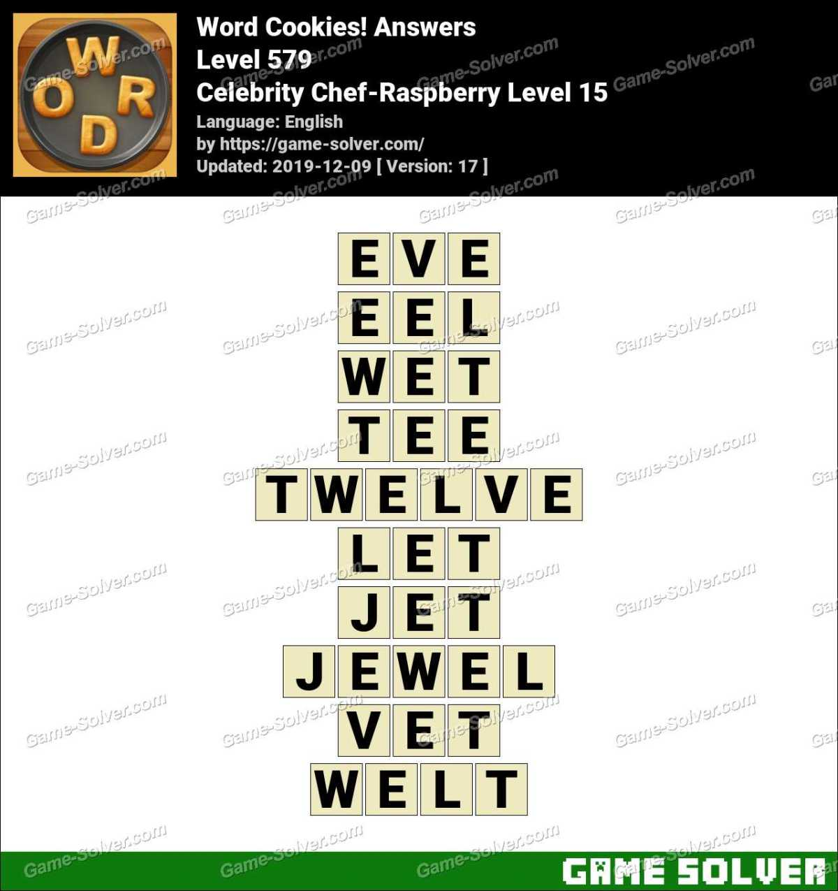 Word Cookies Celebrity Chef-Raspberry Level 15 Answers
