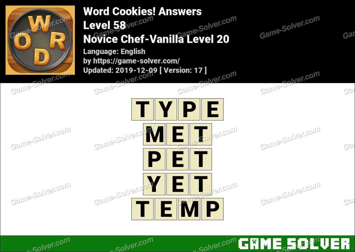 Word Cookies Novice Chef-Vanilla Level 20 Answers