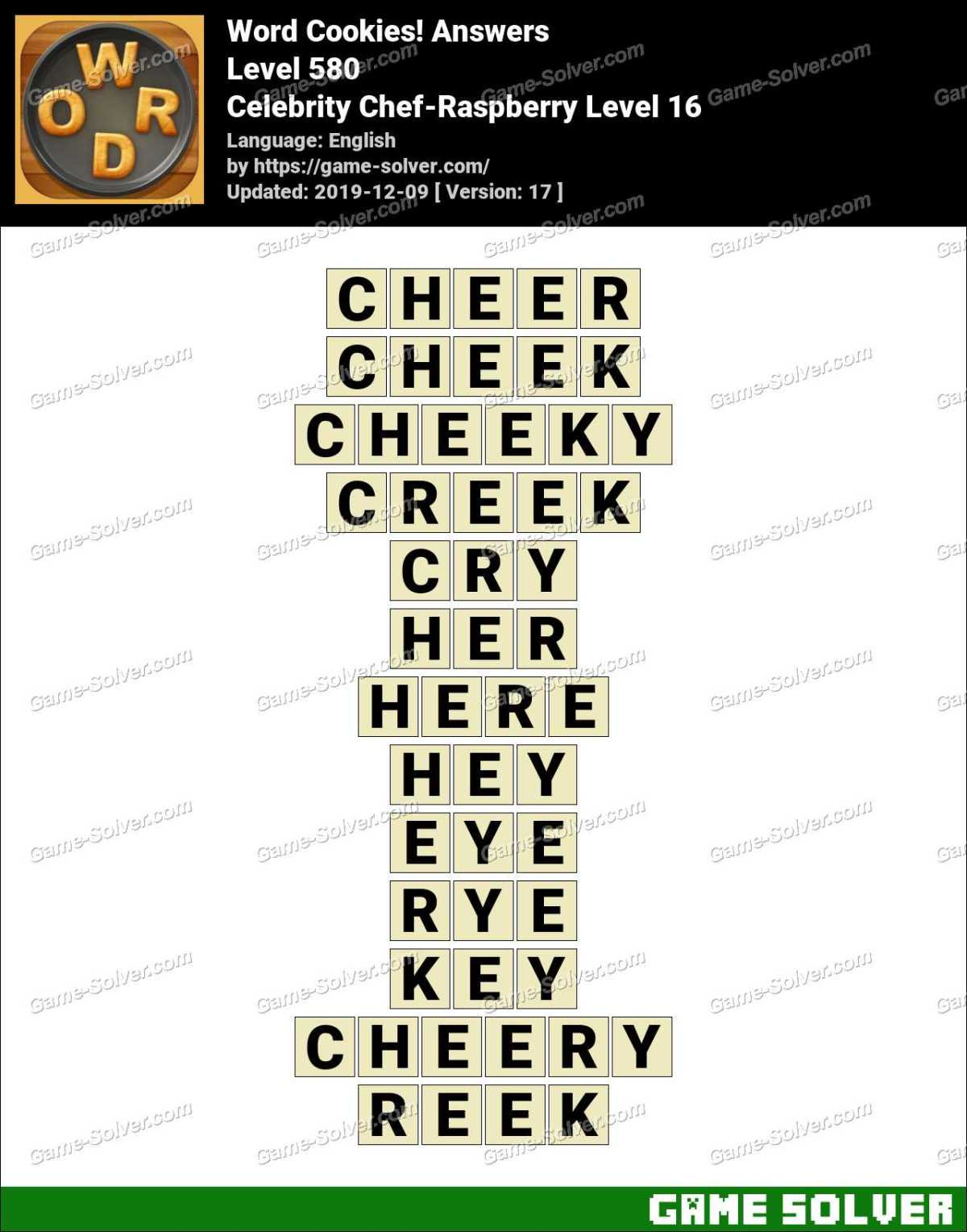 Word Cookies Celebrity Chef-Raspberry Level 16 Answers