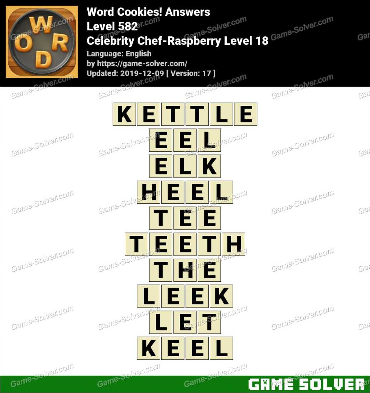 Word Cookies Celebrity Chef-Raspberry Level 18 Answers