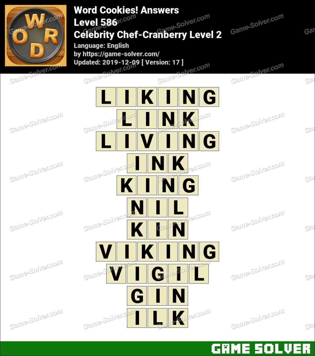 Word Cookies Celebrity Chef-Cranberry Level 2 Answers