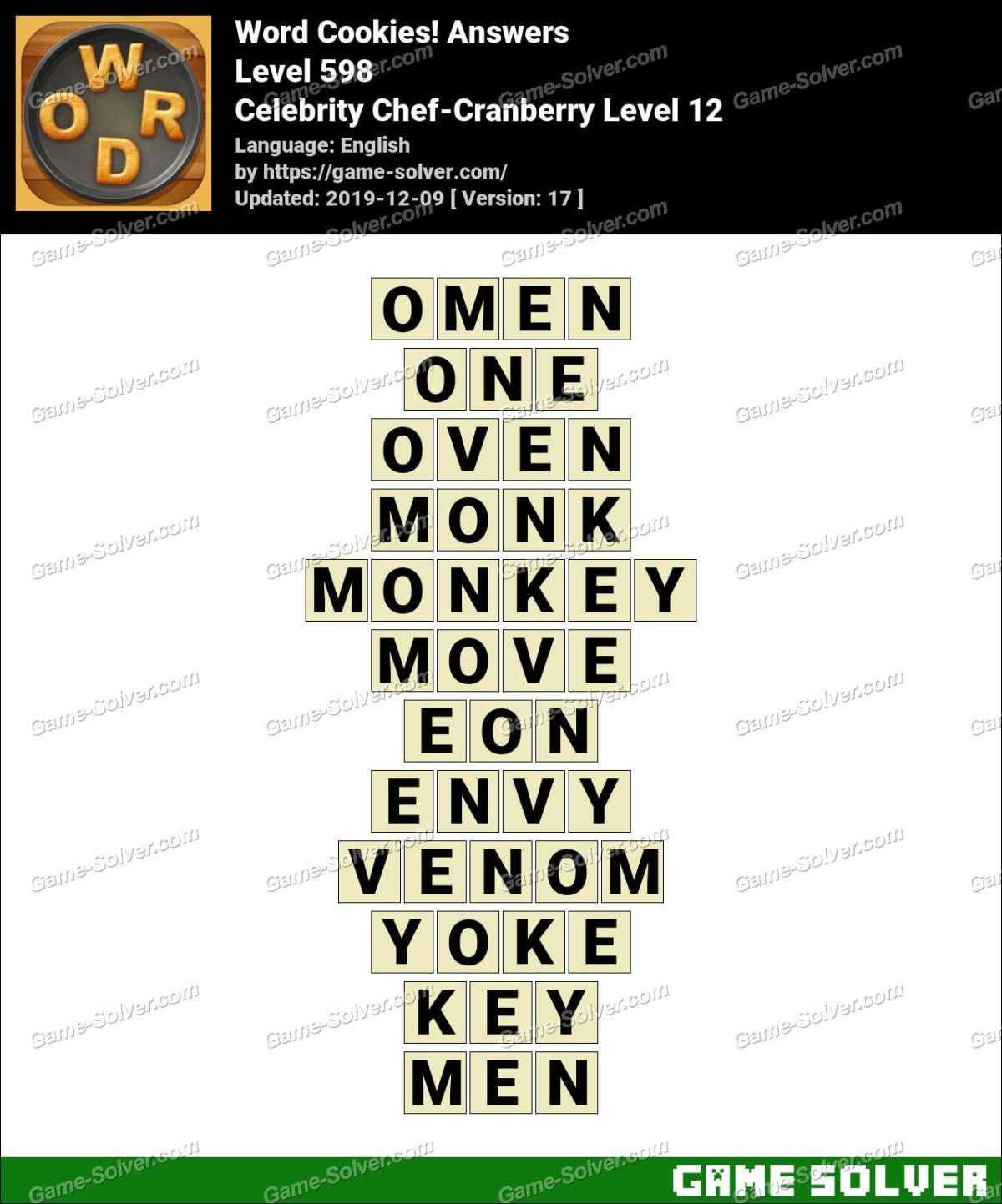 Word Cookies Celebrity Chef-Cranberry Level 12 Answers