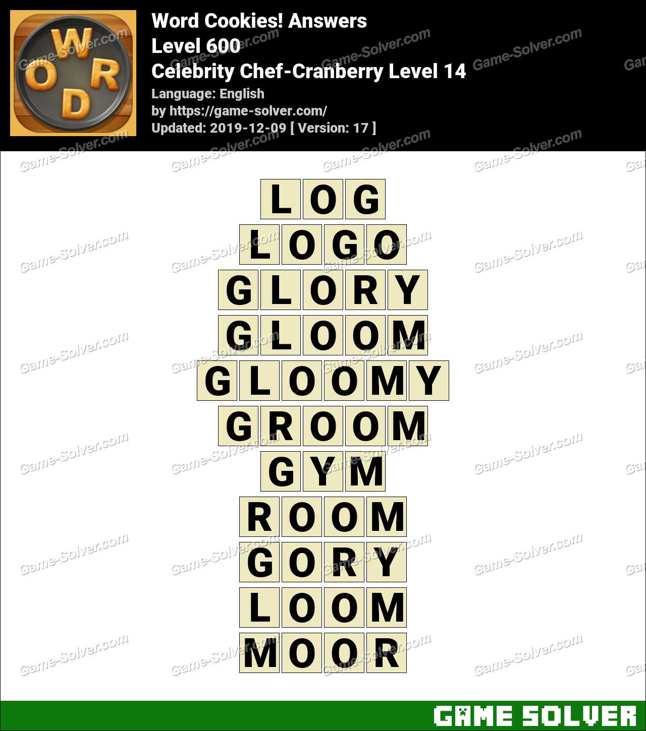 Word Cookies Celebrity Chef-Cranberry Level 14 Answers