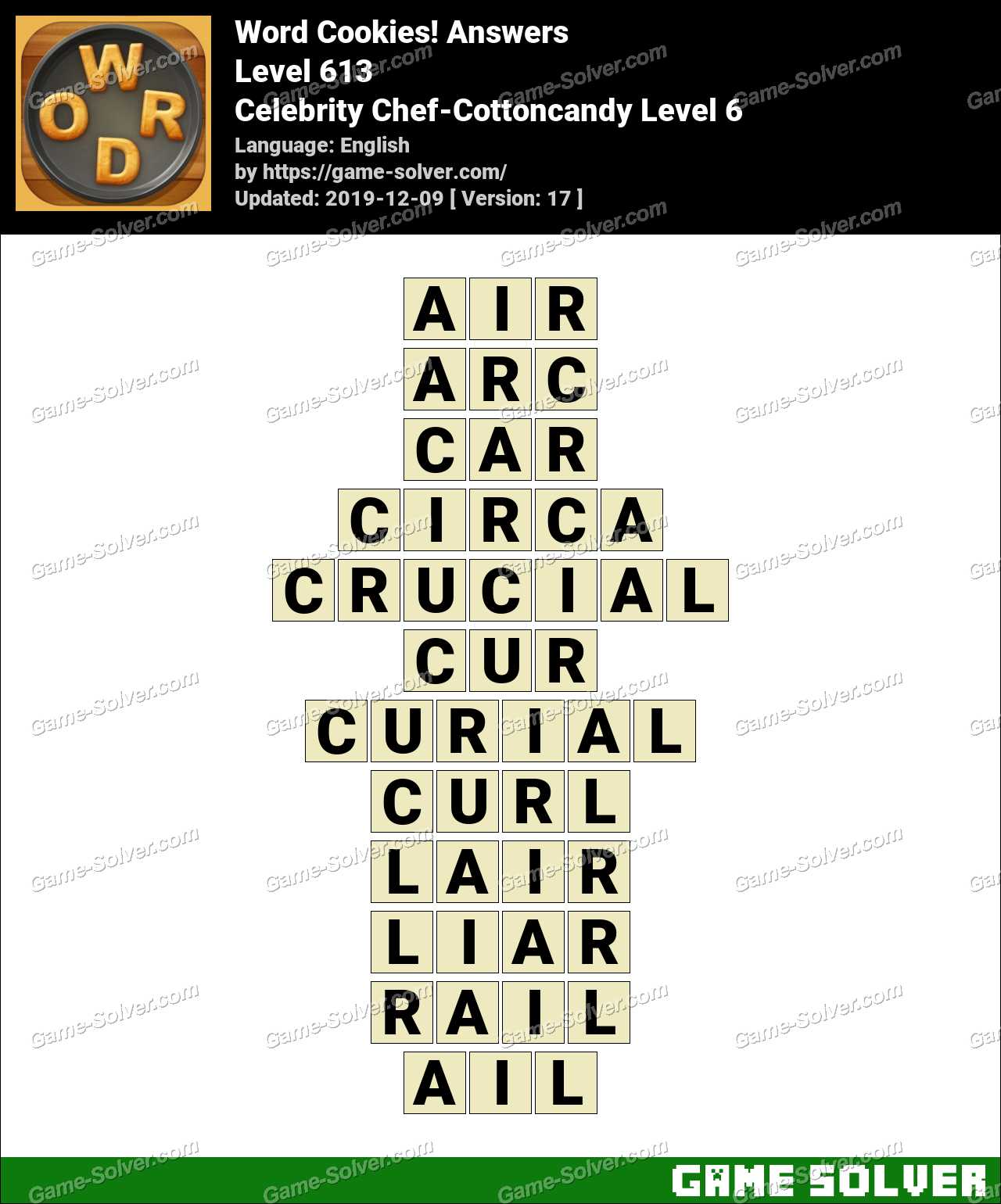 Word Cookies Celebrity Chef-Cottoncandy Level 6 Answers