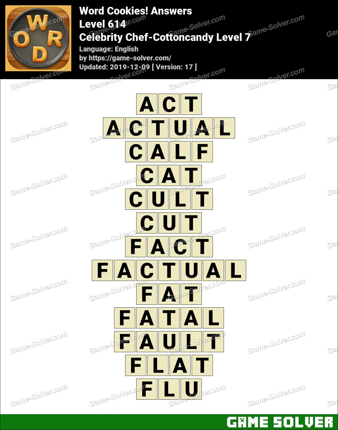 Word Cookies Celebrity Chef-Cottoncandy Level 7 Answers