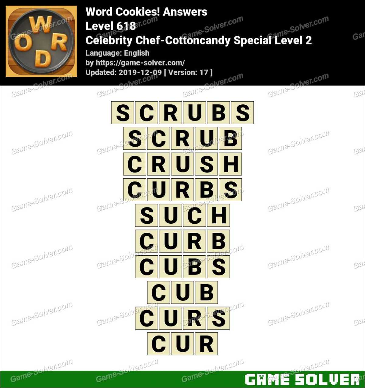 Word Cookies Celebrity Chef-Cottoncandy Special Level 2 Answers