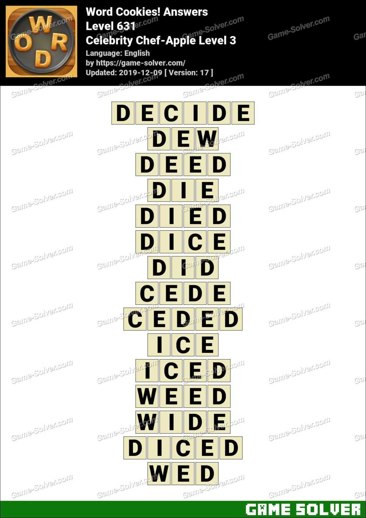 Word Cookies Celebrity Chef-Apple Level 3 Answers
