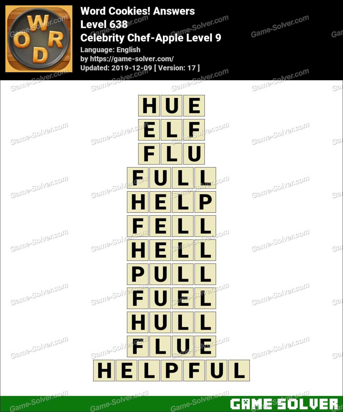 Word Cookies Celebrity Chef-Apple Level 9 Answers