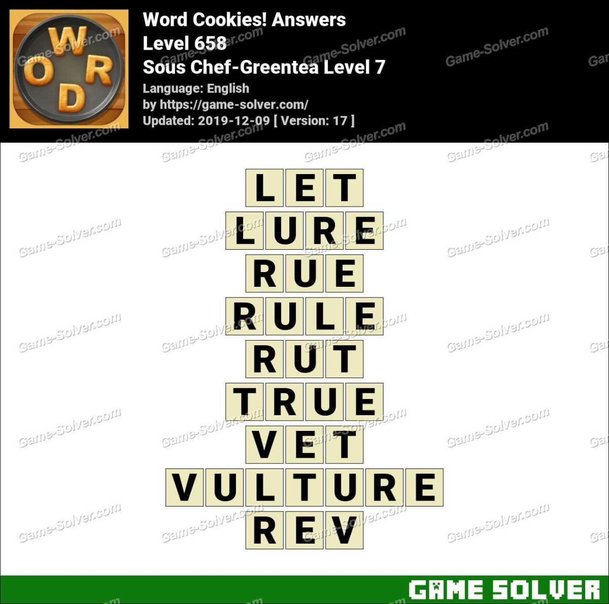 Word Cookies Sous Chef-Greentea Level 7 Answers