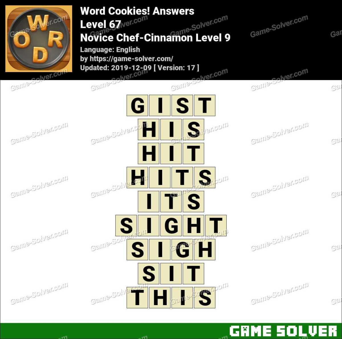 Word Cookies Novice Chef-Cinnamon Level 9 Answers