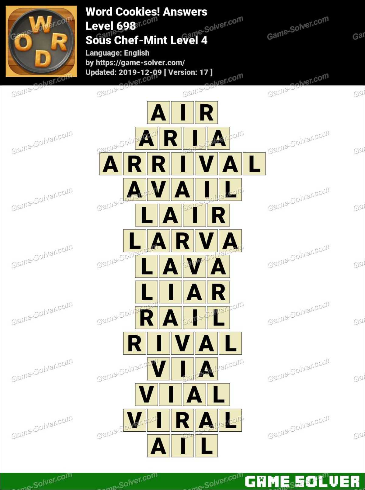 Word Cookies Sous Chef-Mint Level 4 Answers