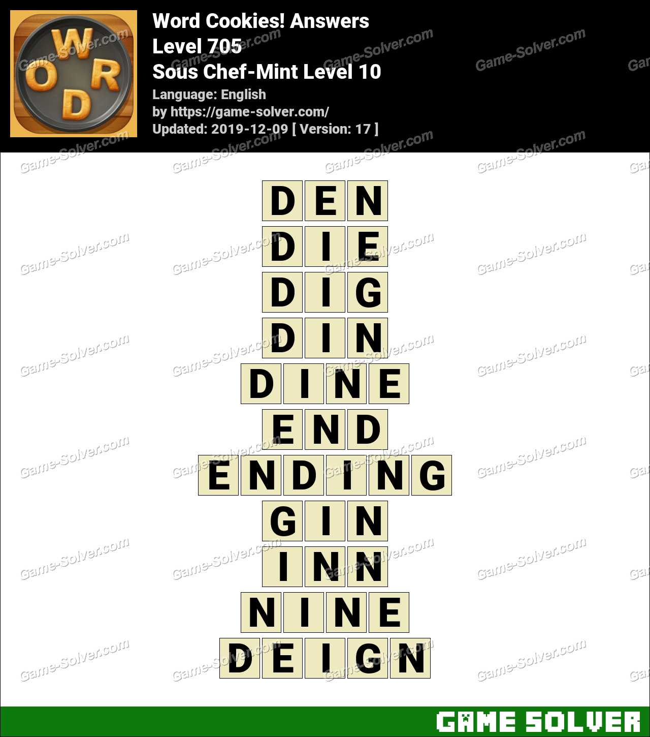 Word Cookies Sous Chef-Mint Level 10 Answers