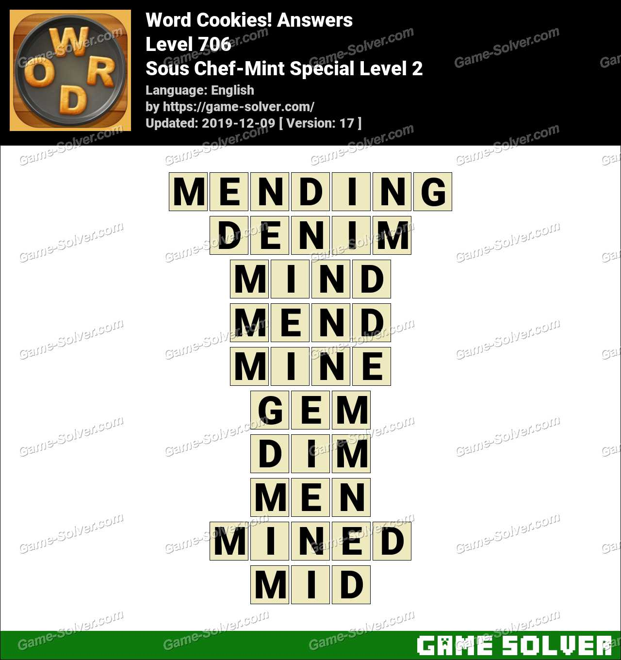 Word Cookies Sous Chef-Mint Special Level 2 Answers