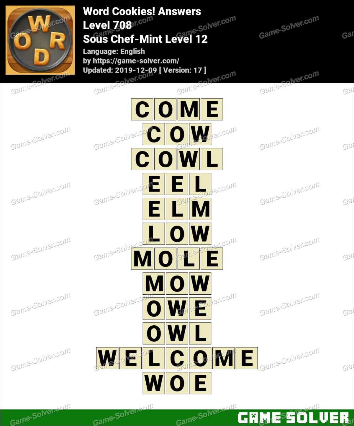 Word Cookies Sous Chef-Mint Level 12 Answers