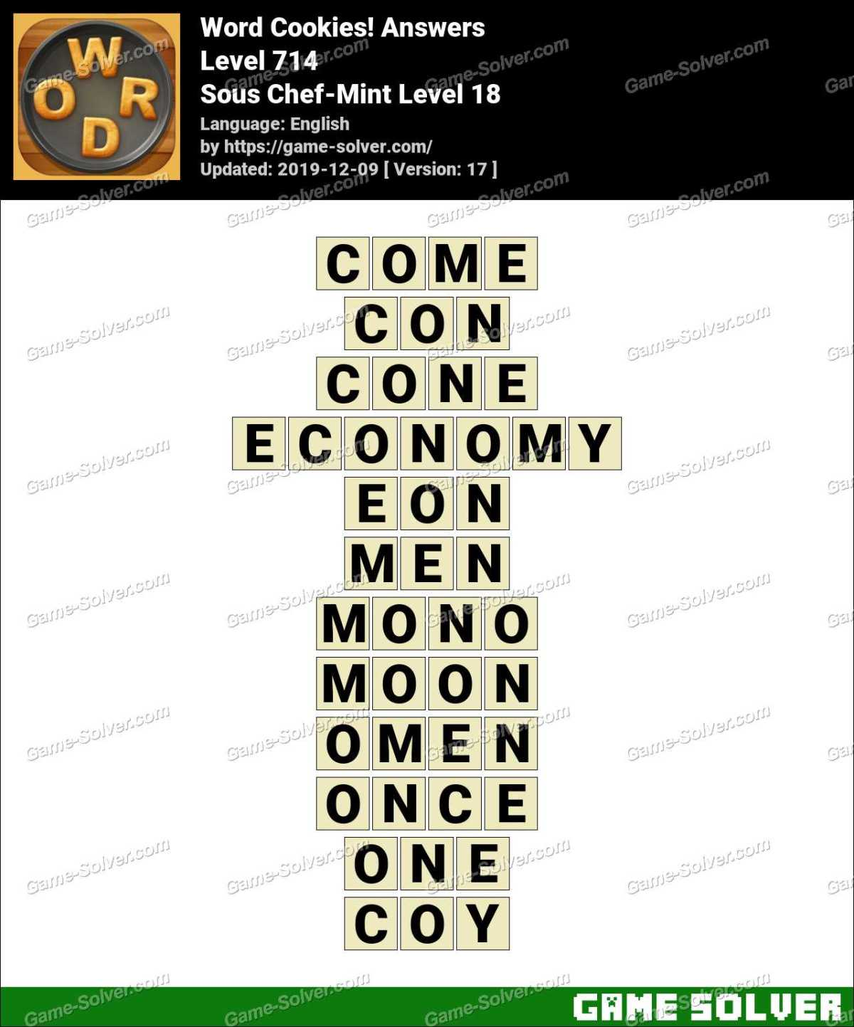Word Cookies Sous Chef-Mint Level 18 Answers