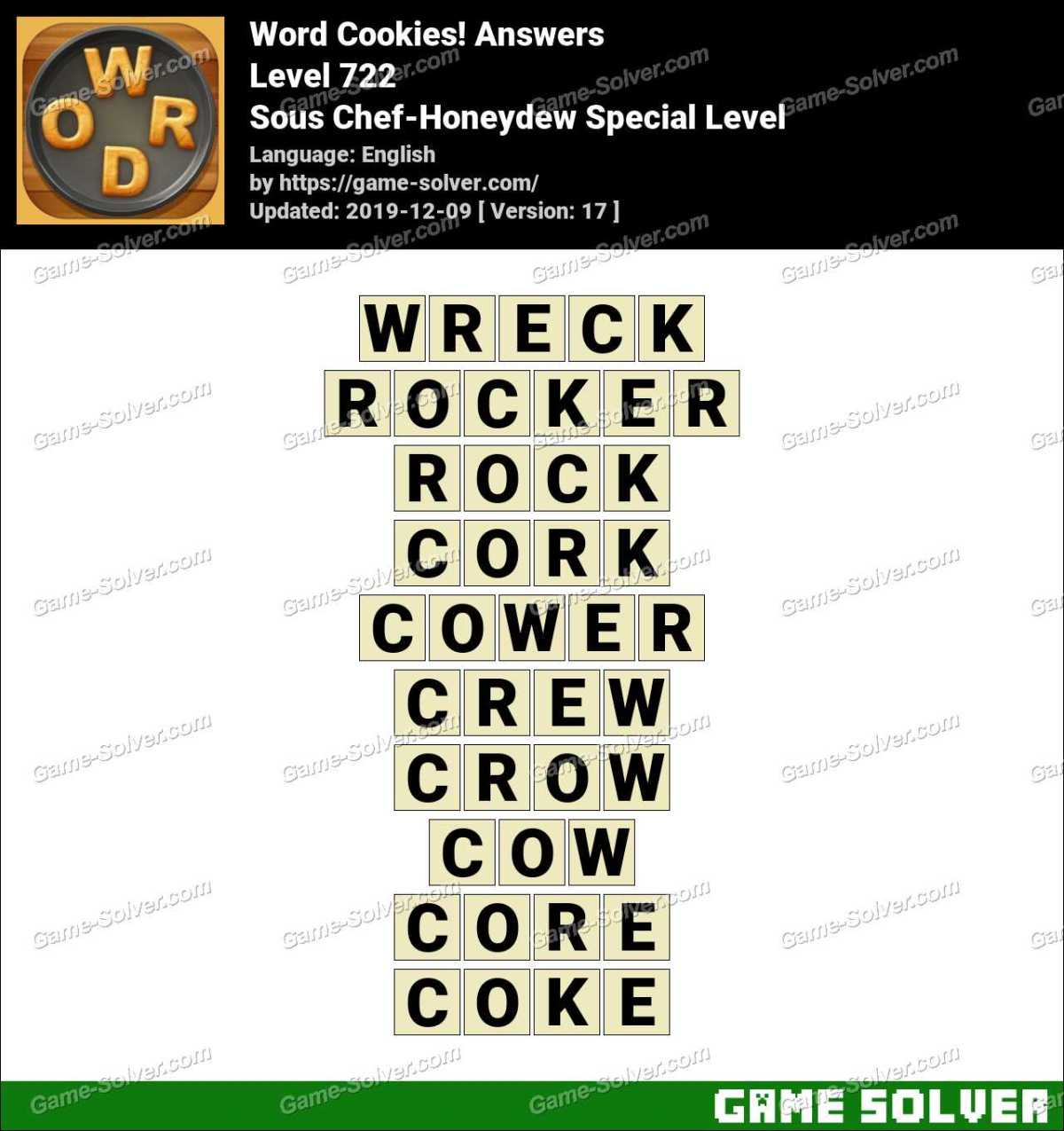 Word Cookies Sous Chef-Honeydew Special Level Answers