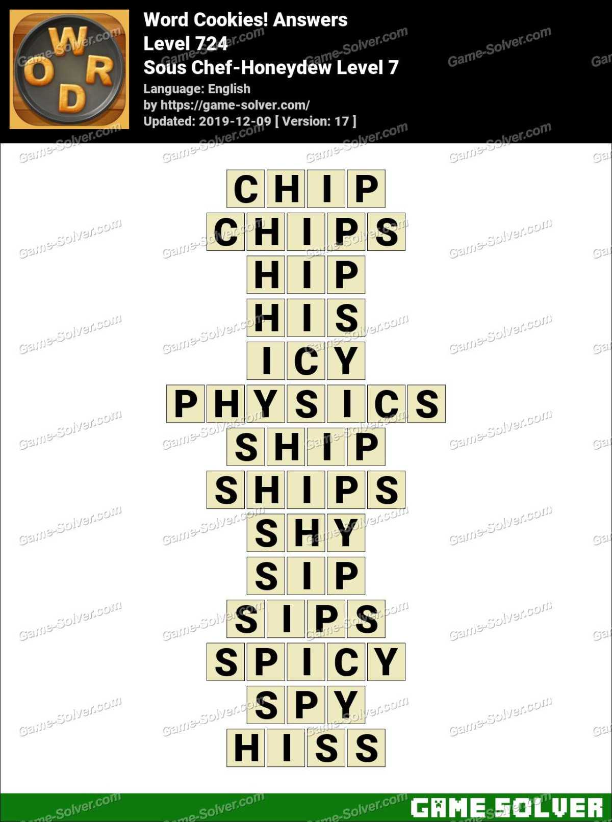 Word Cookies Sous Chef-Honeydew Level 7 Answers