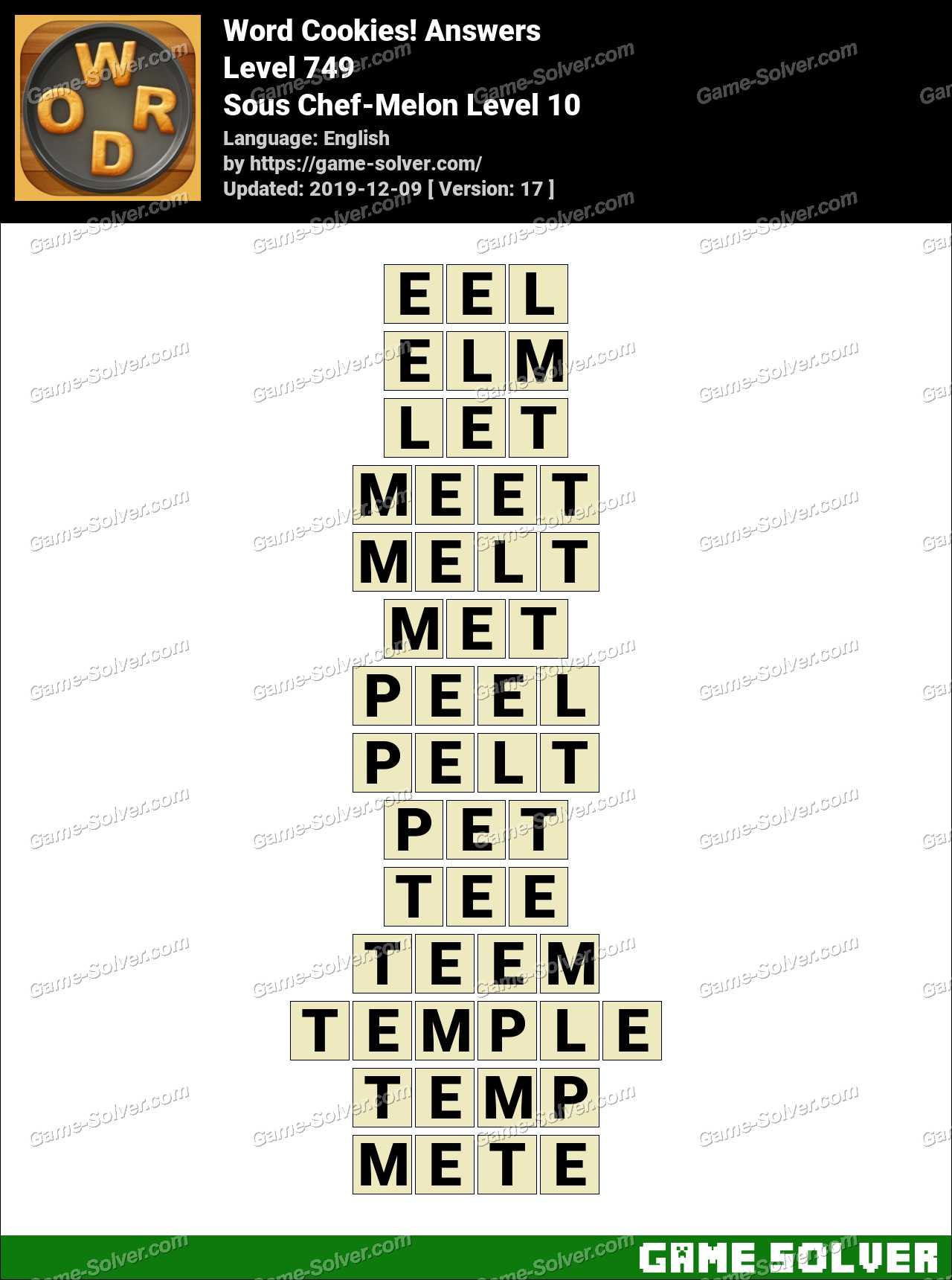 Word Cookies Sous Chef-Melon Level 10 Answers