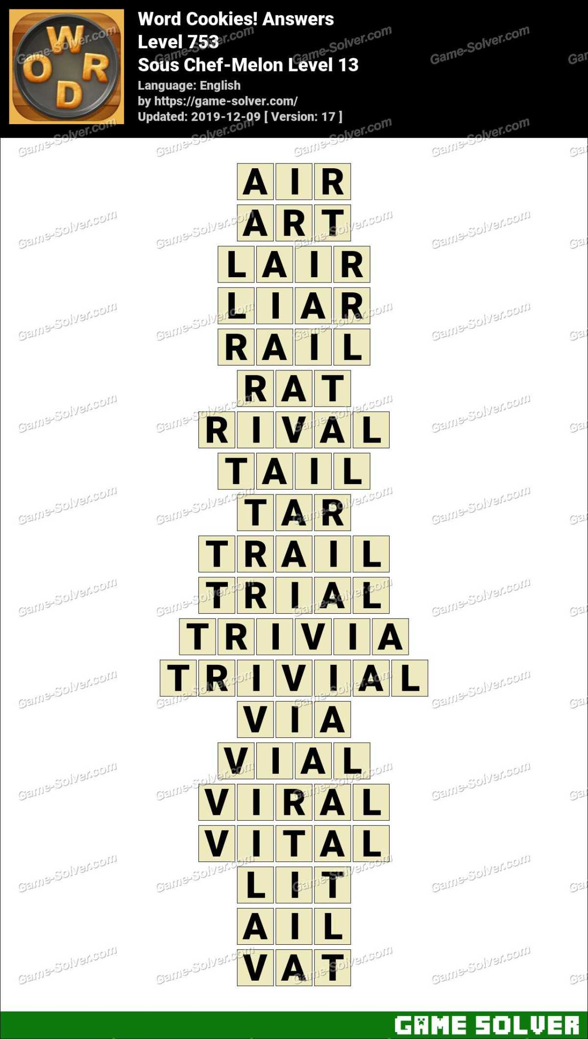 Word Cookies Sous Chef-Melon Level 13 Answers
