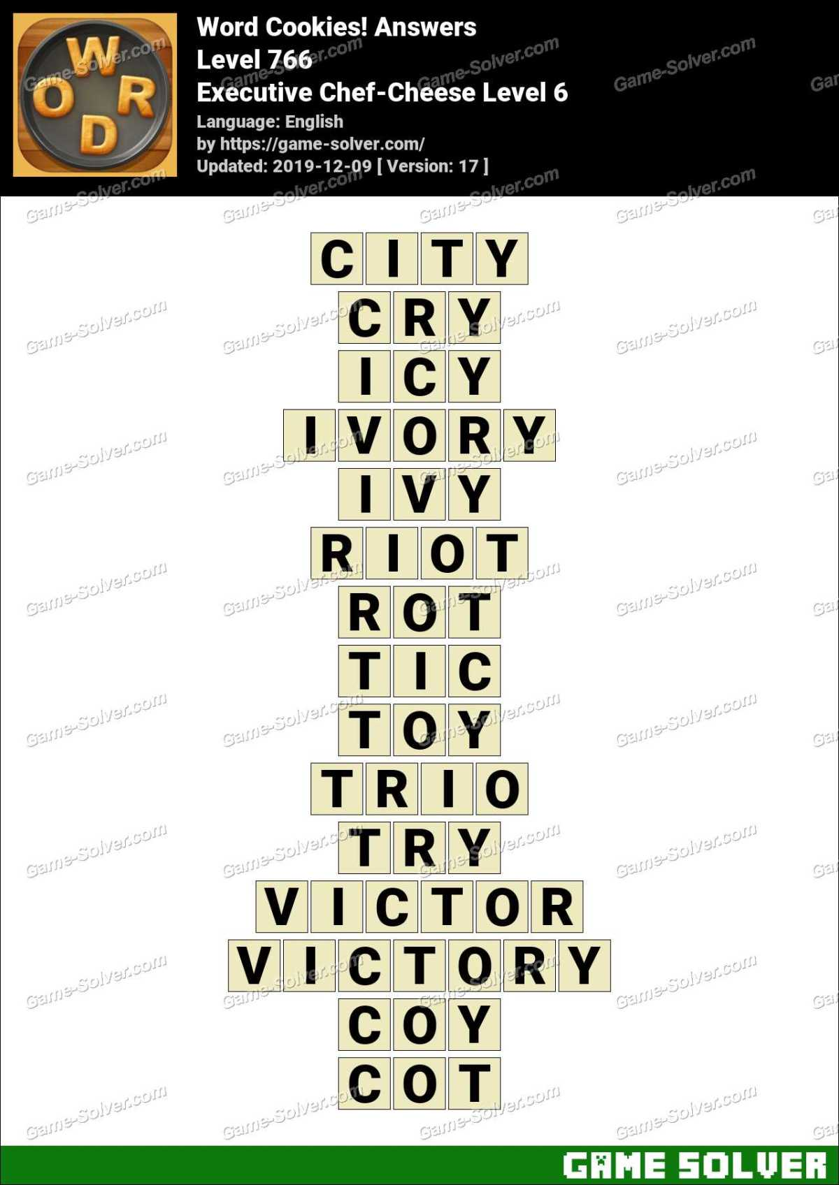 Word Cookies Executive Chef-Cheese Level 6 Answers