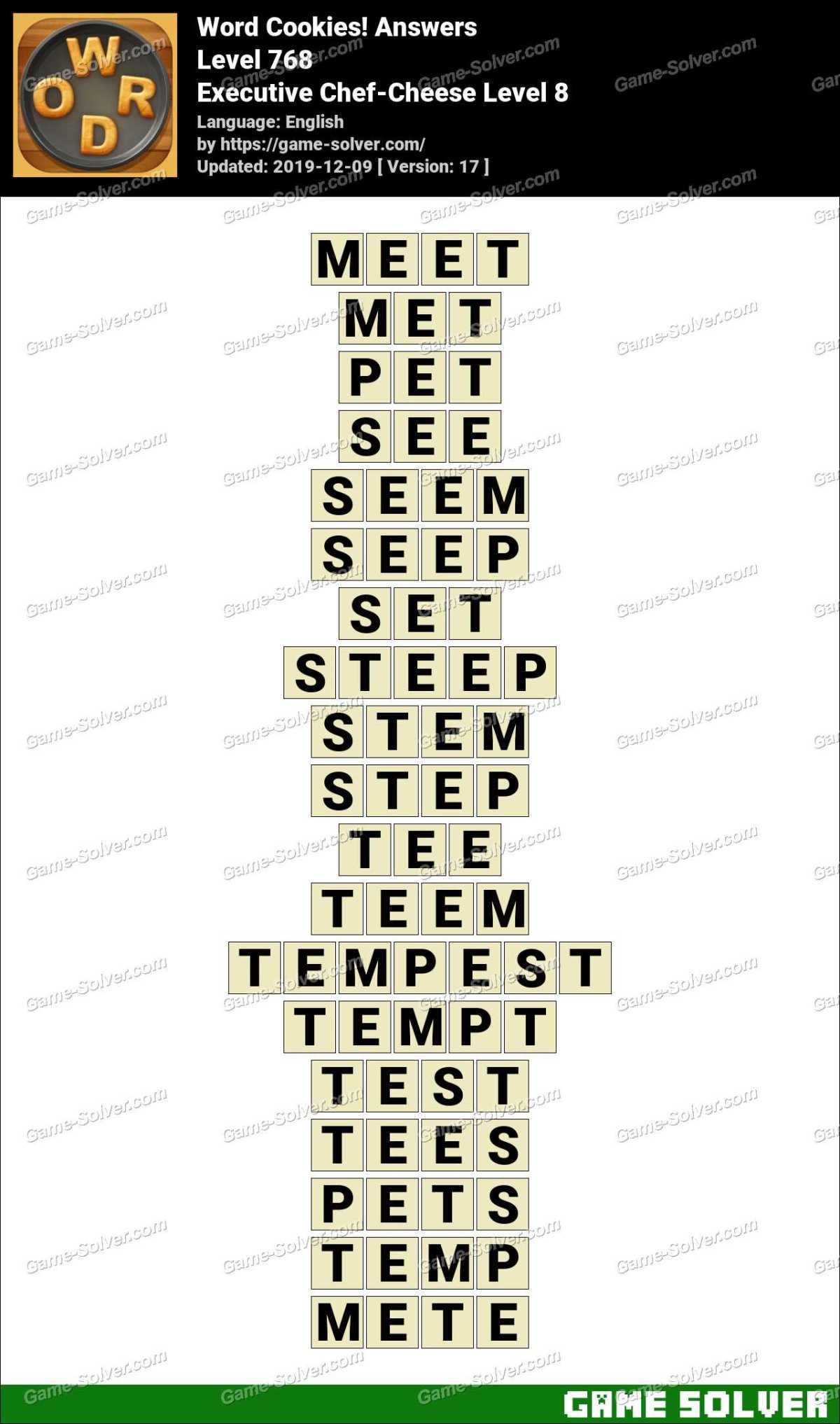 Word Cookies Executive Chef-Cheese Level 8 Answers