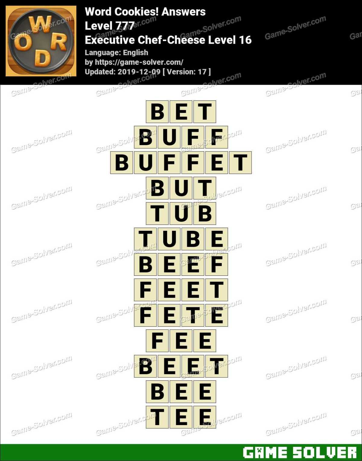 Word Cookies Executive Chef-Cheese Level 16 Answers