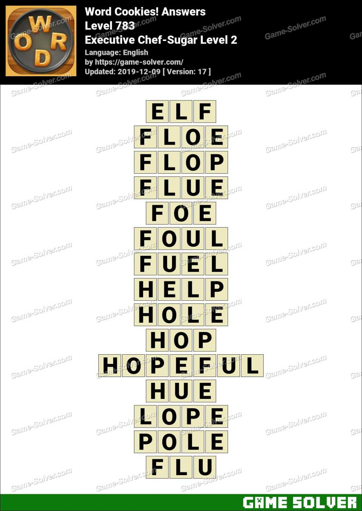 Word Cookies Executive Chef-Sugar Level 2 Answers