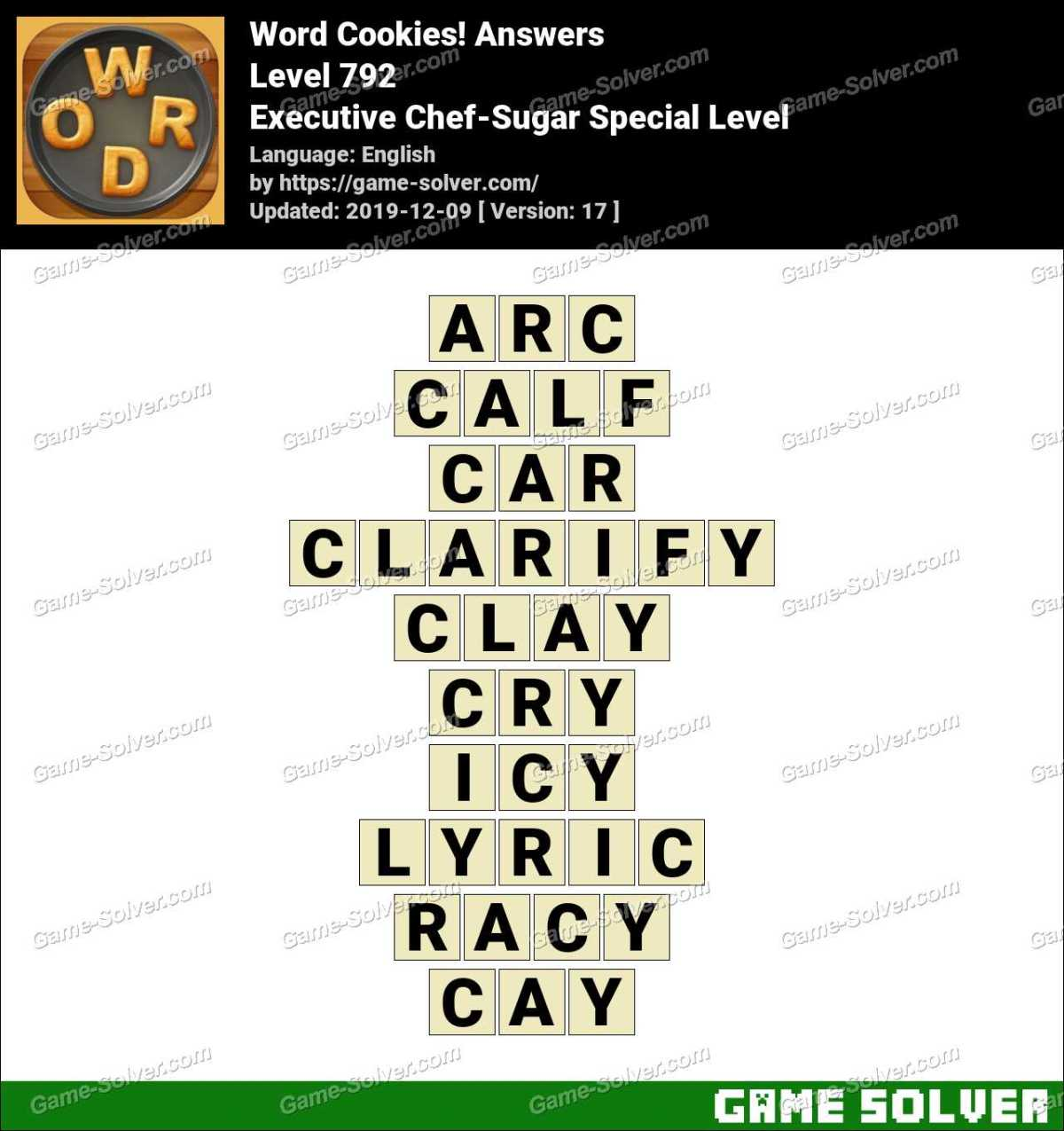 Word Cookies Executive Chef-Sugar Special Level Answers