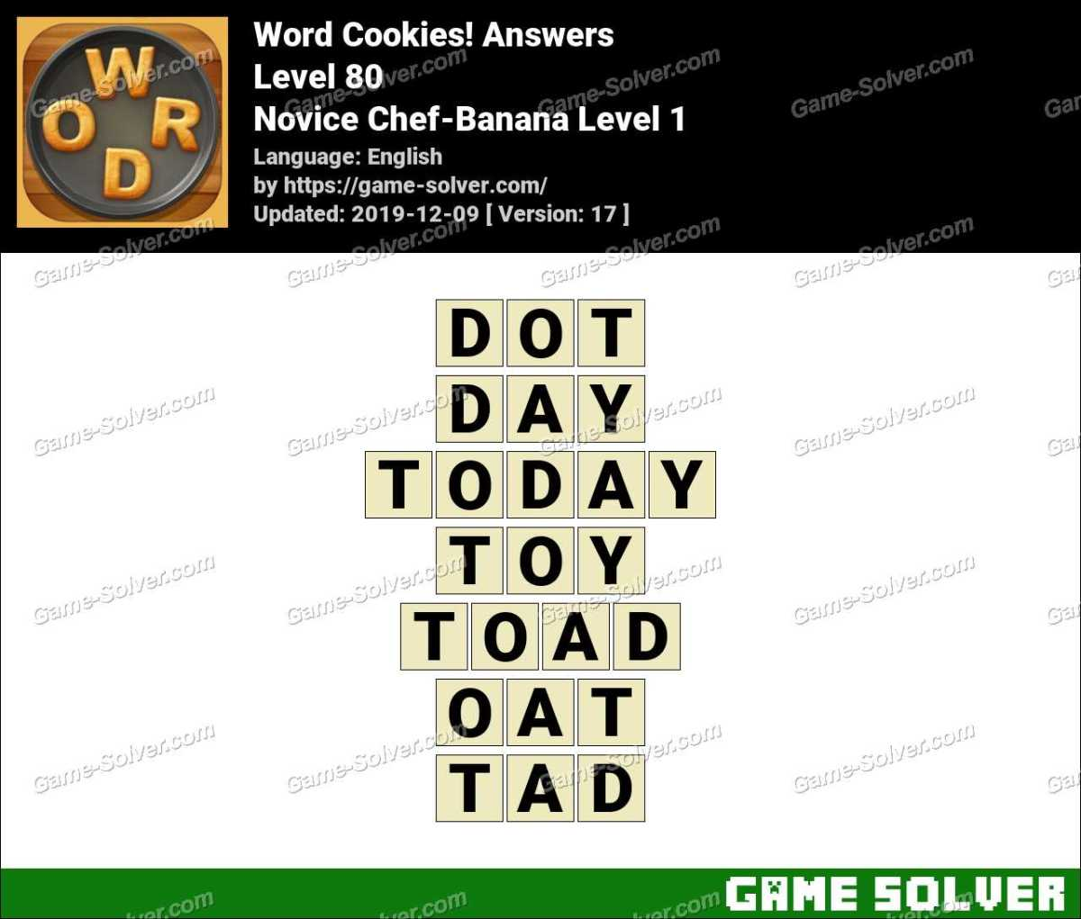 Word Cookies Novice Chef-Banana Level 1 Answers