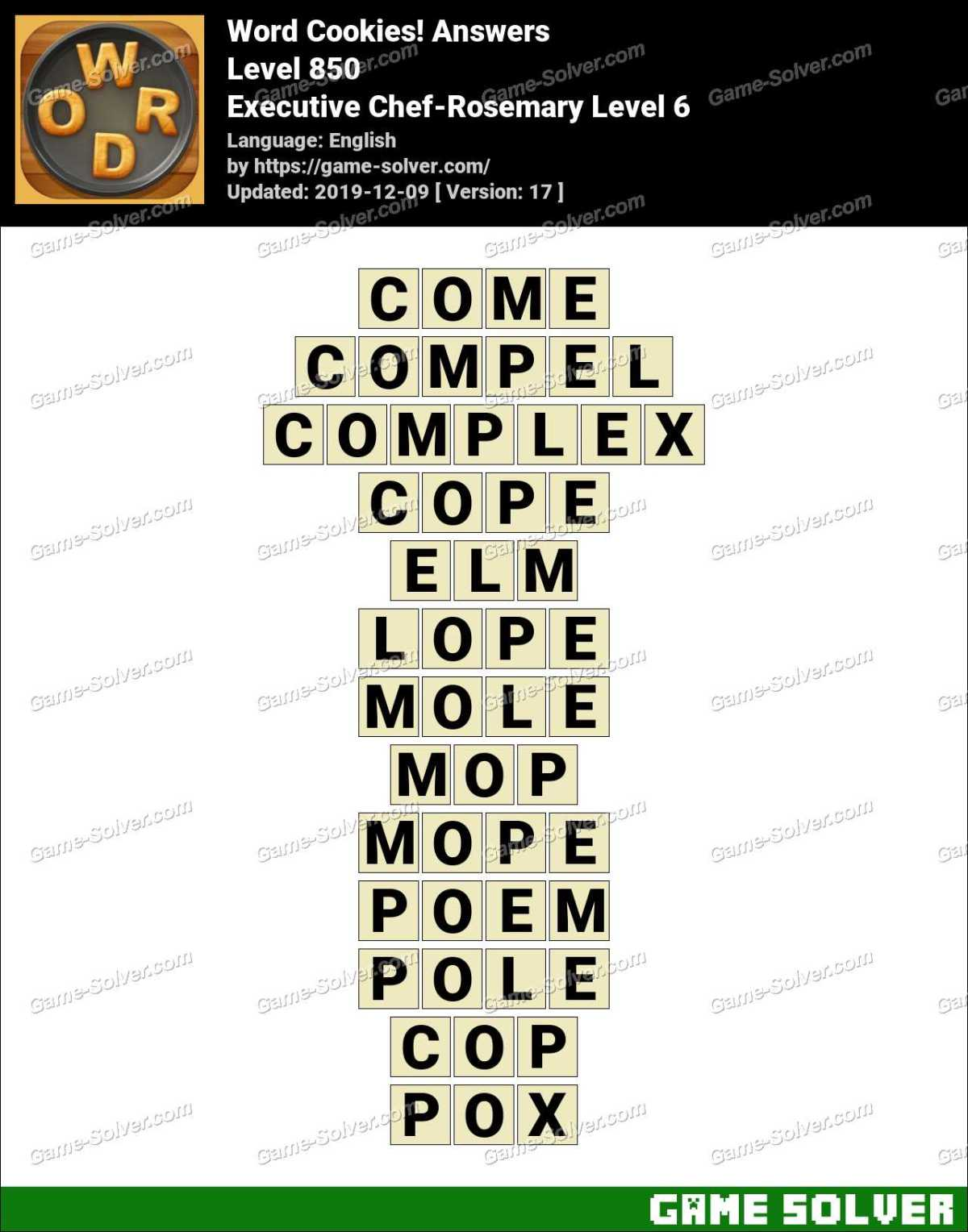 Word Cookies Executive Chef-Rosemary Level 6 Answers