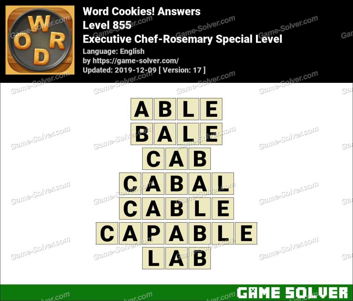 Word Cookies Executive Chef-Rosemary Special Level Answers