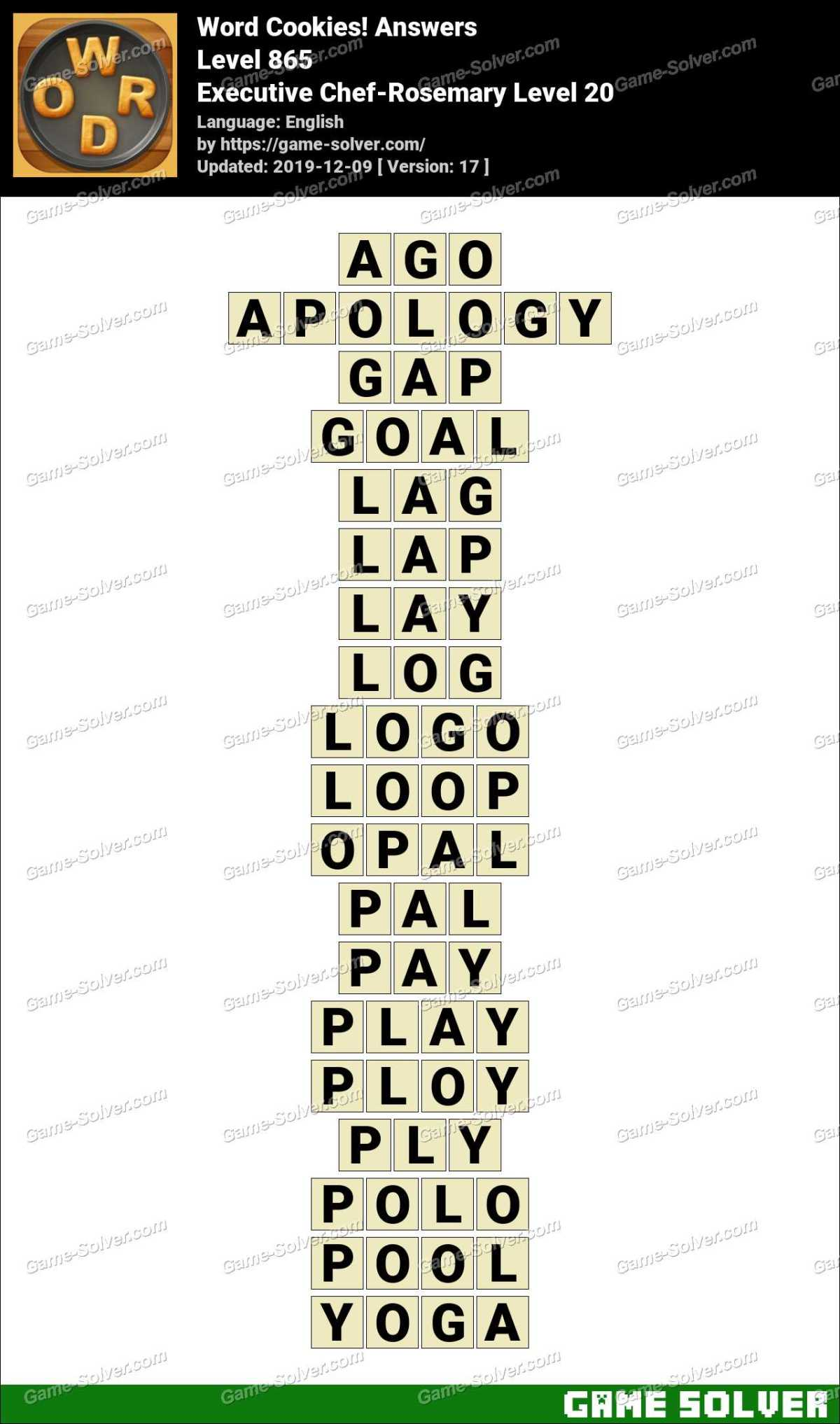 Word Cookies Executive Chef-Rosemary Level 20 Answers