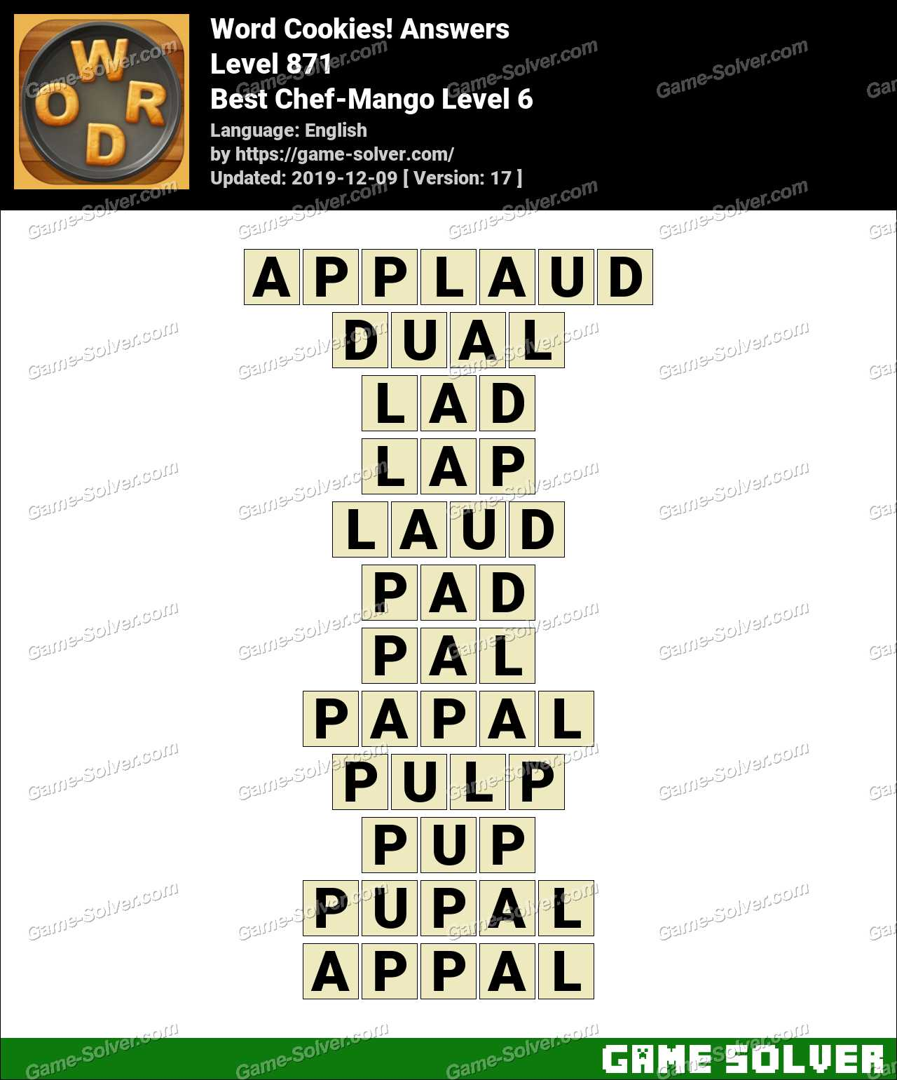 Word Cookies Best Chef-Mango Level 6 Answers