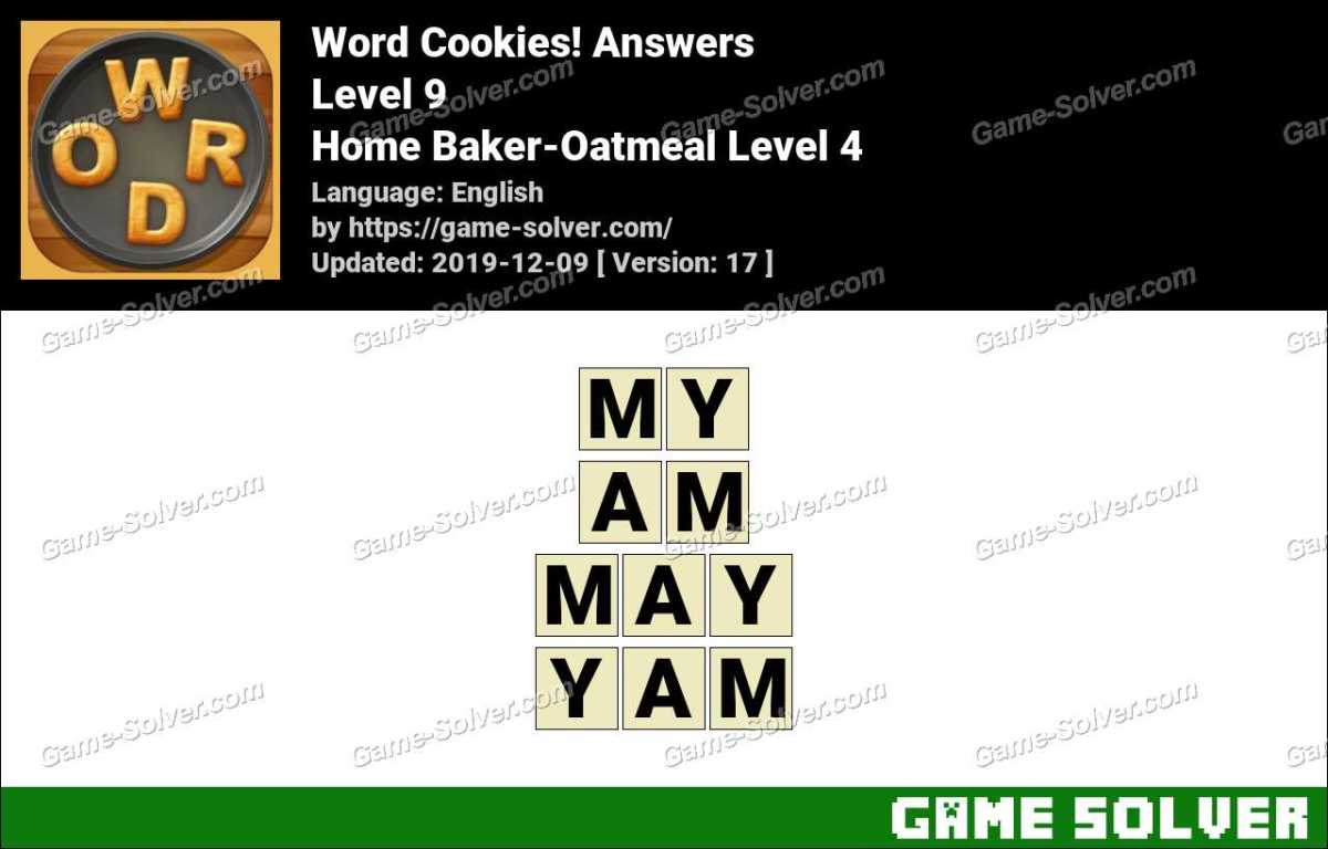 Word Cookies Home Baker-Oatmeal Level 4 Answers