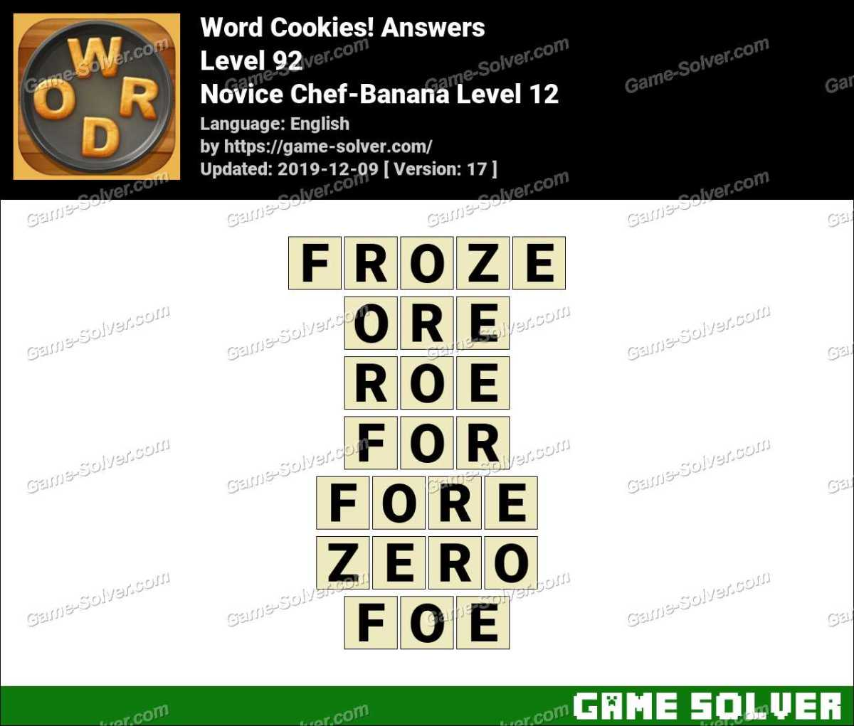 Word Cookies Novice Chef-Banana Level 12 Answers