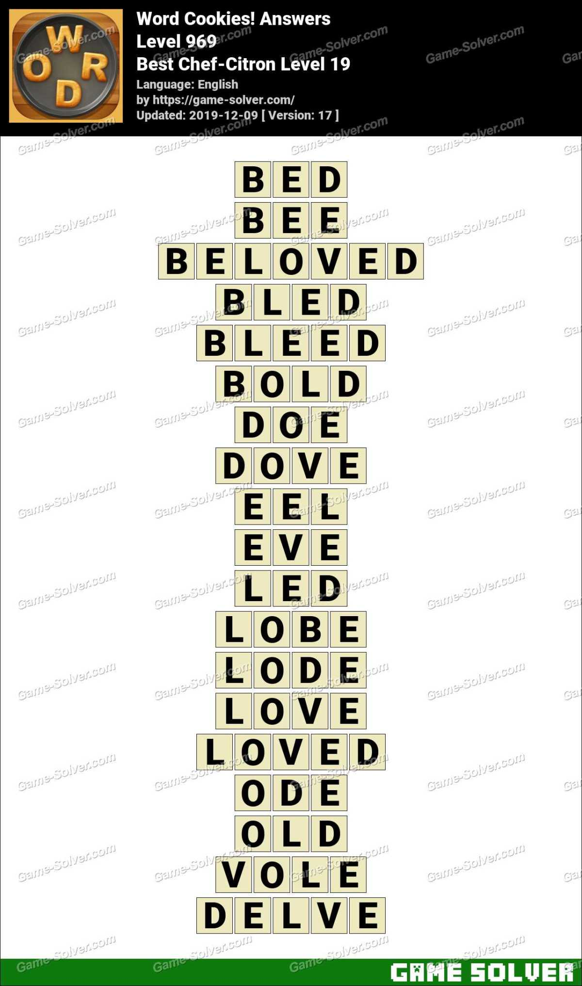 Word Cookies Best Chef-Citron Level 19 Answers