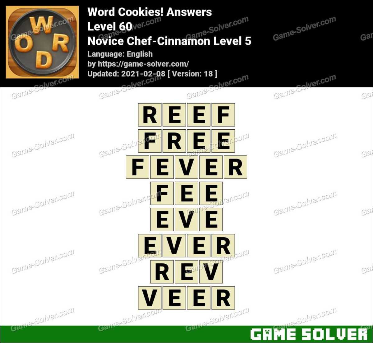 Word Cookies Novice Chef-Cinnamon Level 5 Answers