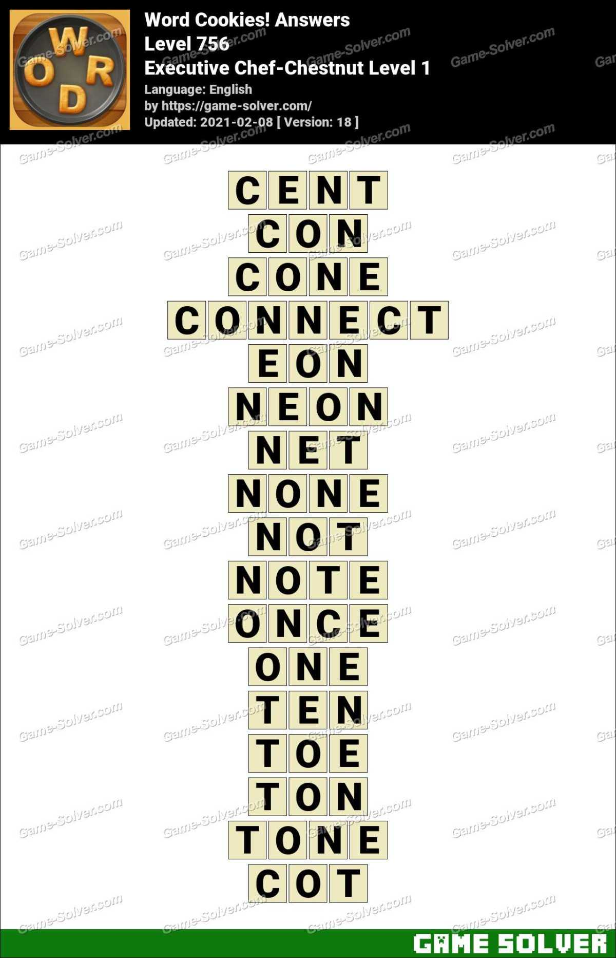Word Cookies Executive Chef-Chestnut Level 1 Answers