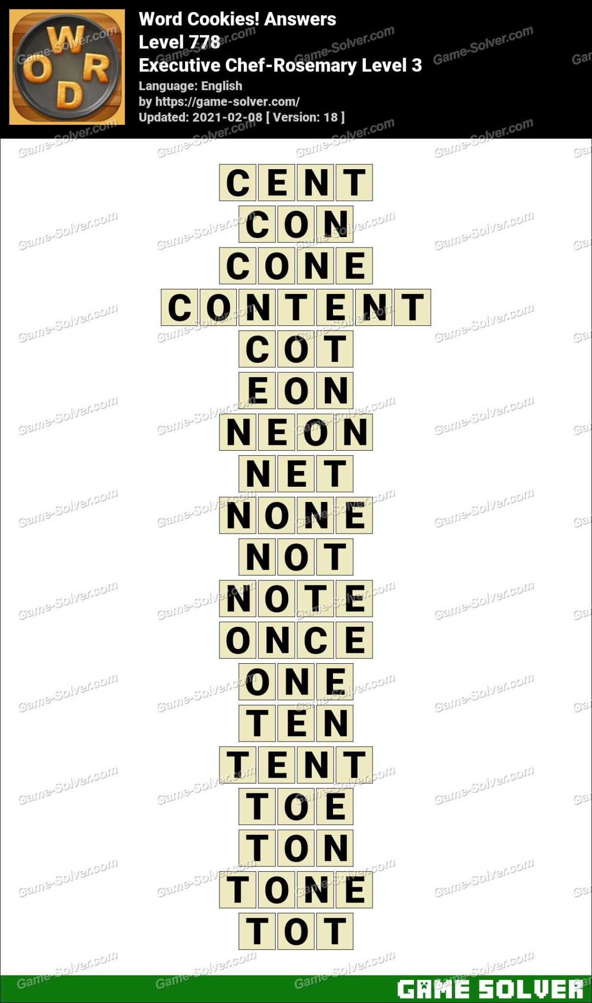 Word Cookies Executive Chef-Rosemary Level 3 Answers