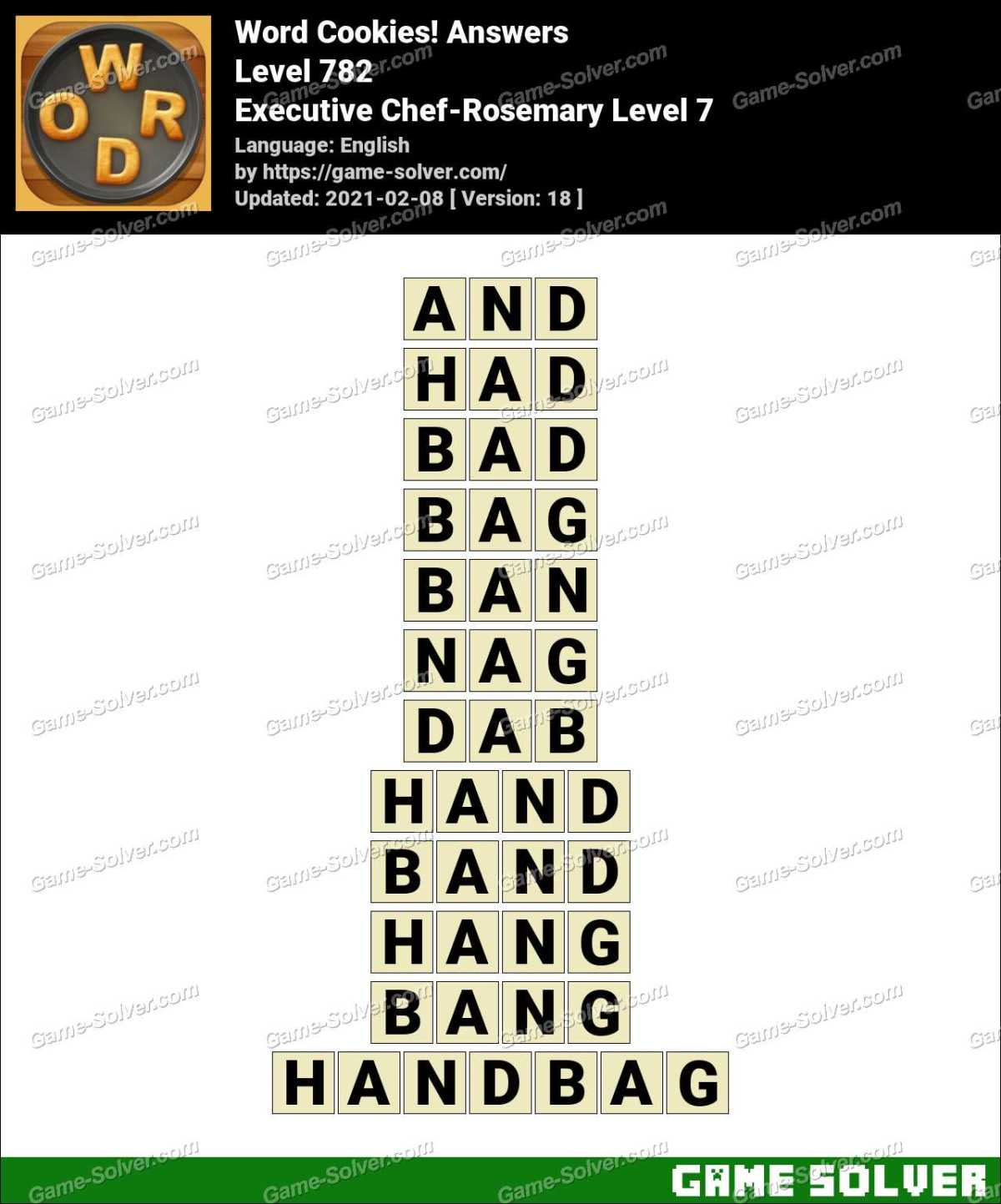 Word Cookies Executive Chef-Rosemary Level 7 Answers