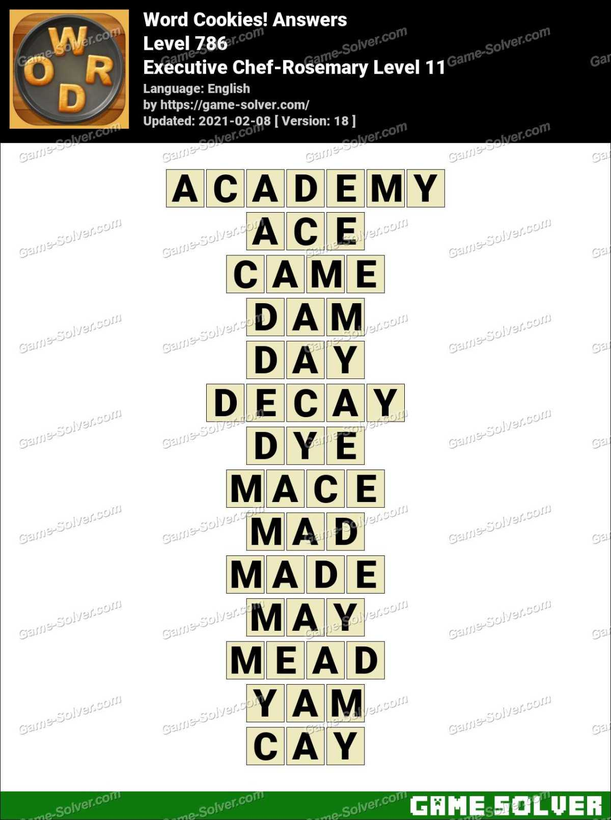 Word Cookies Executive Chef-Rosemary Level 11 Answers