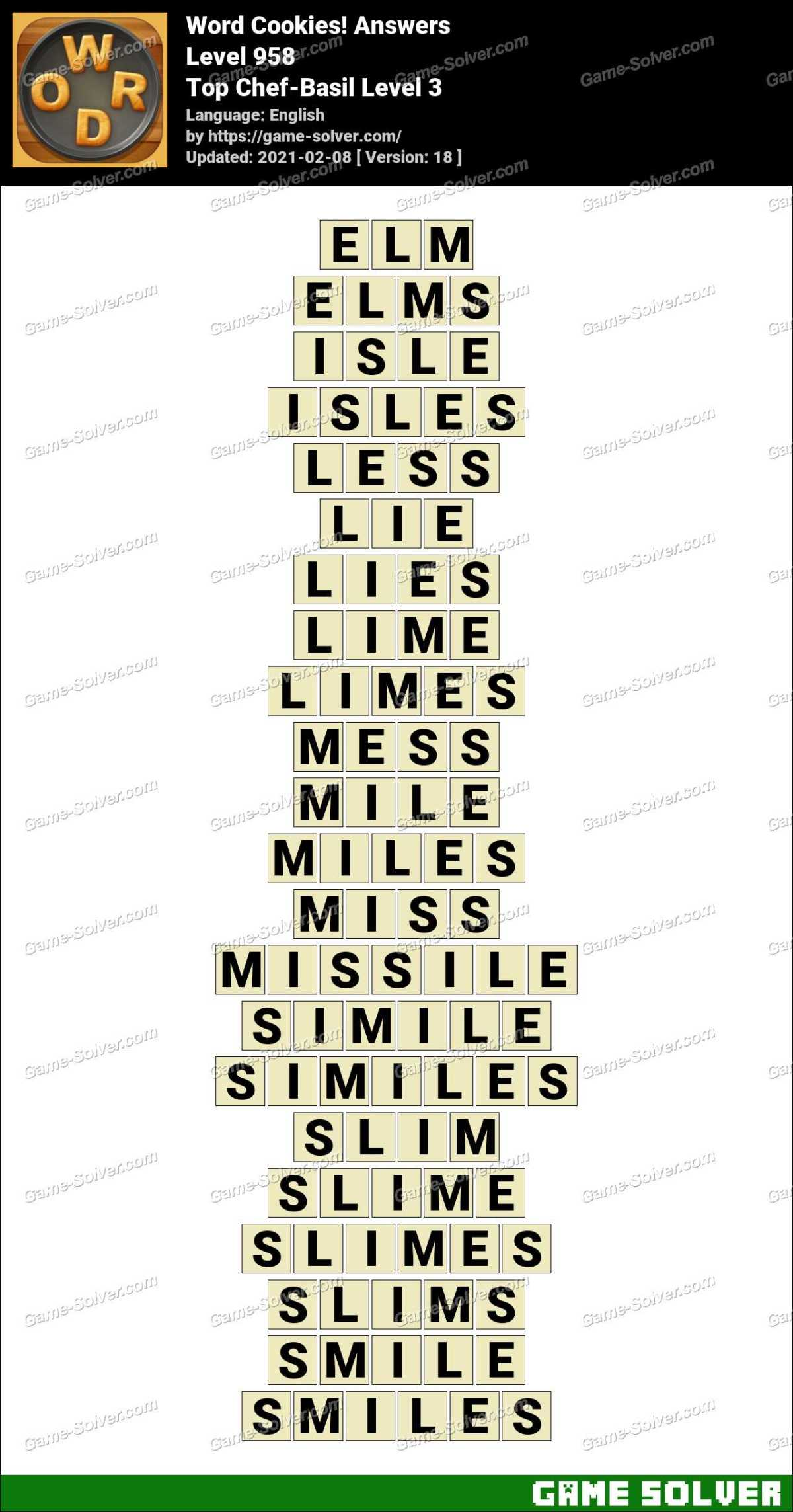 Word Cookies Top Chef-Basil Level 3 Answers