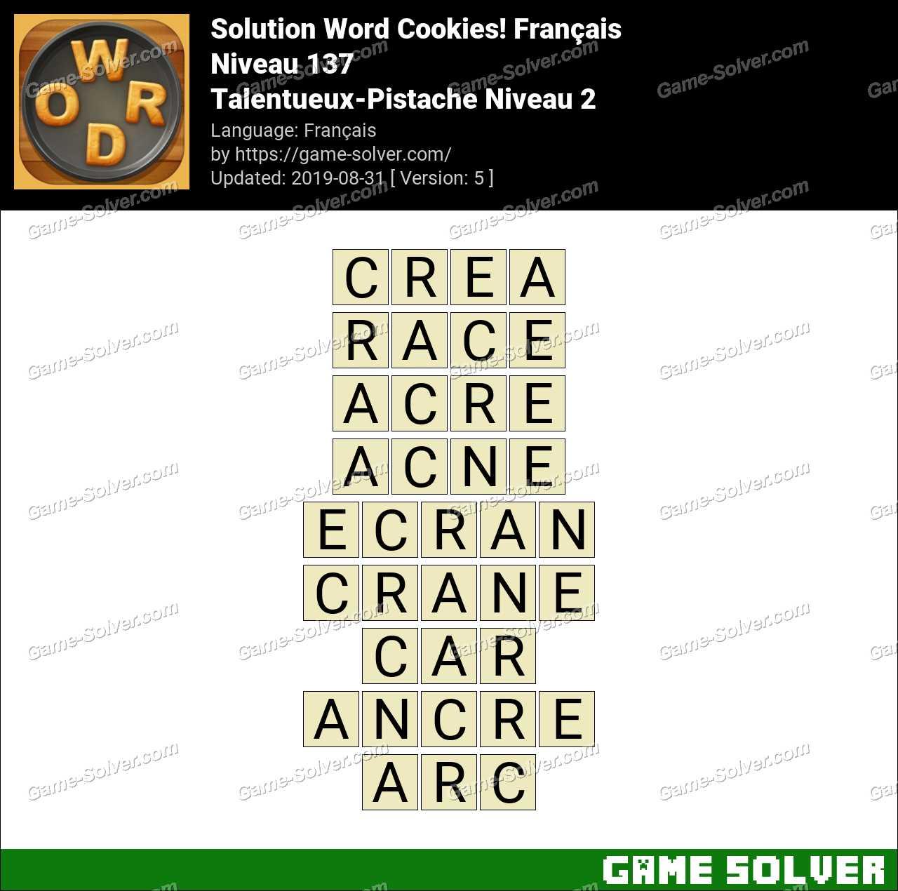 Solution Word Cookies Talentueux-Pistache Niveau 2