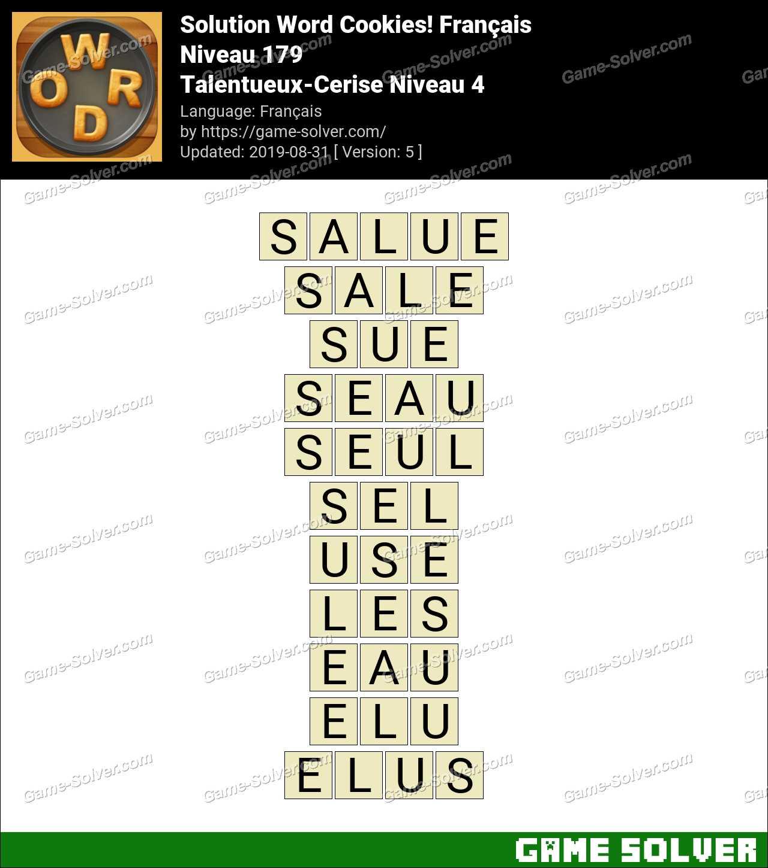 Solution Word Cookies Talentueux-Cerise Niveau 4