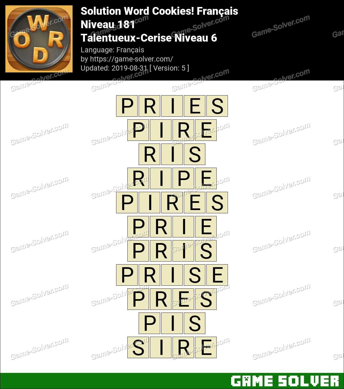 Solution Word Cookies Talentueux-Cerise Niveau 6