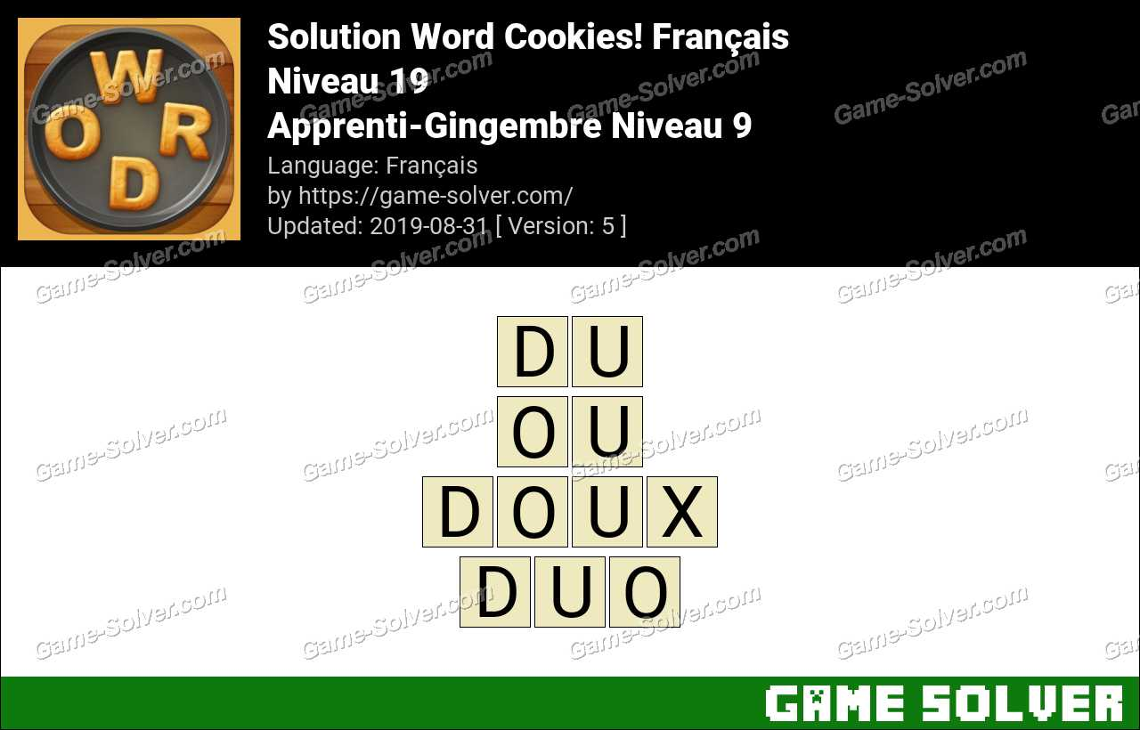 Solution Word Cookies Apprenti-Gingembre Niveau 9