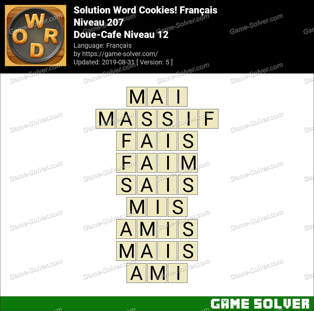 Solution Word Cookies Doue-Cafe Niveau 12