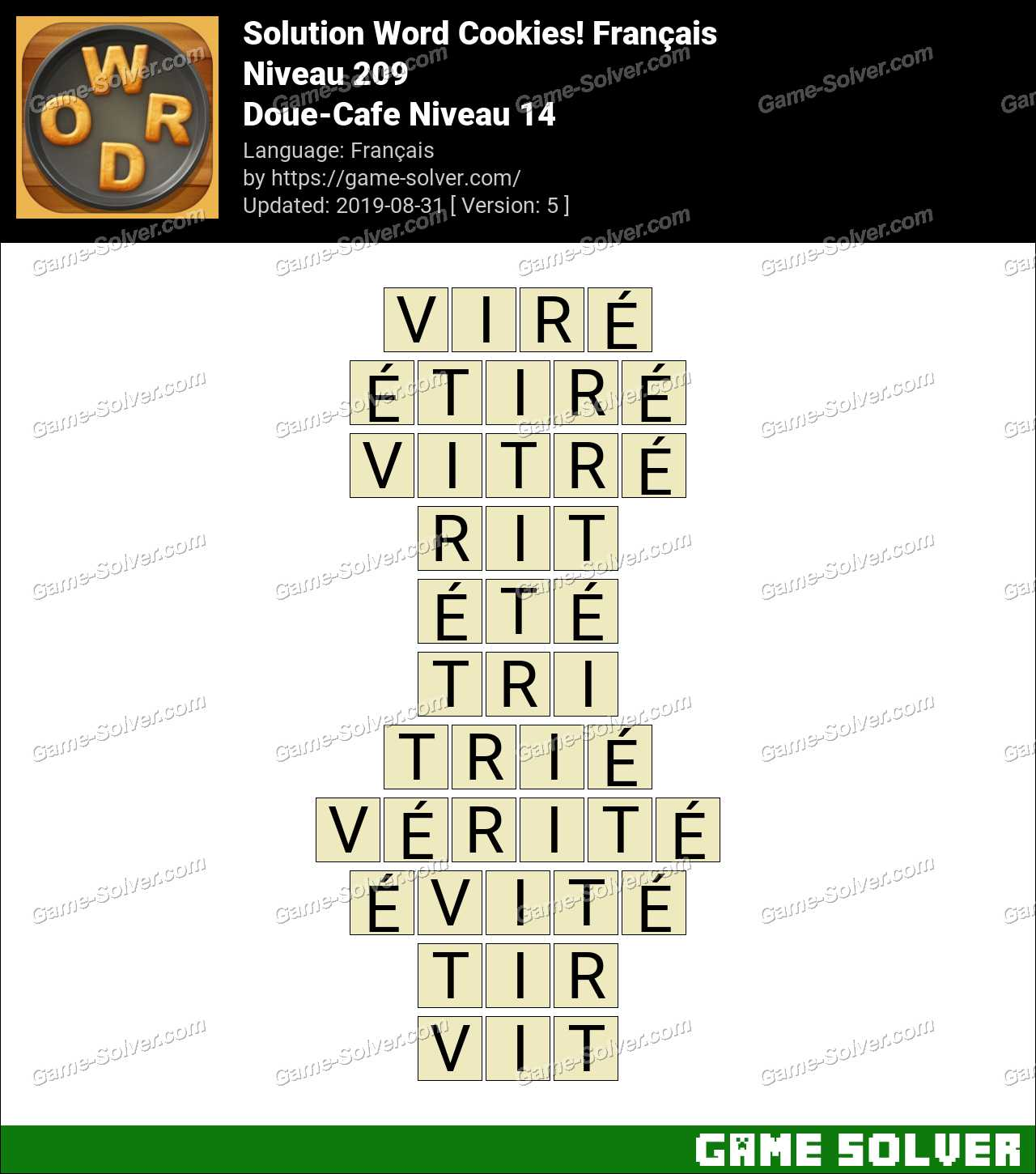 Solution Word Cookies Doue-Cafe Niveau 14